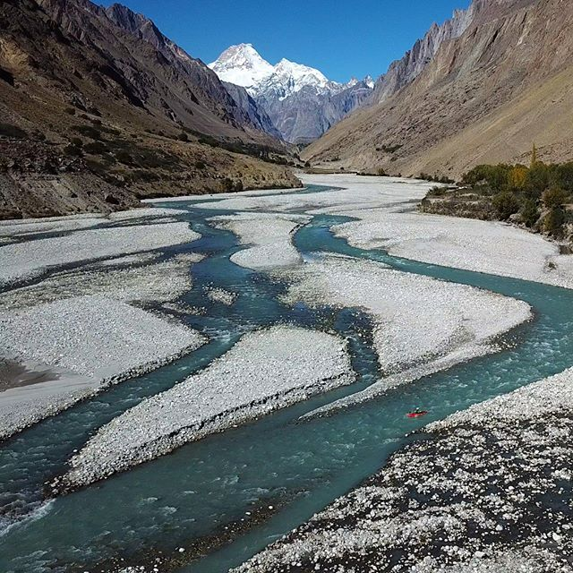 "David Sodomka: ""Hushe river was low but the views of Masherbrum were epic. The Hushe valley is the starting point of the famous Concordia trek that goes to K2 base camp."" . . . . #inwaterwelive #weareoutthere #pakistan #whitewater #k1 #masherbrum #hushe"